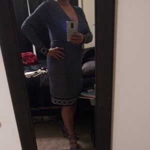 Medium Black & Blue Print Michael Kors Wrap Dress